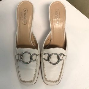 Coach White Leather Mules w/ Heel